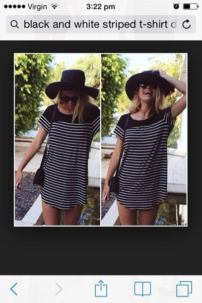 dress black and whit horizontal  lines   tshirt looking dress