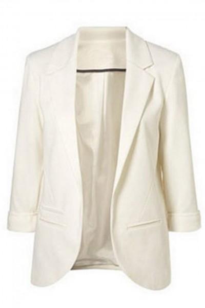 KCLOTH Women's Boyfriend Ponte Rolled Sleeves Blazer