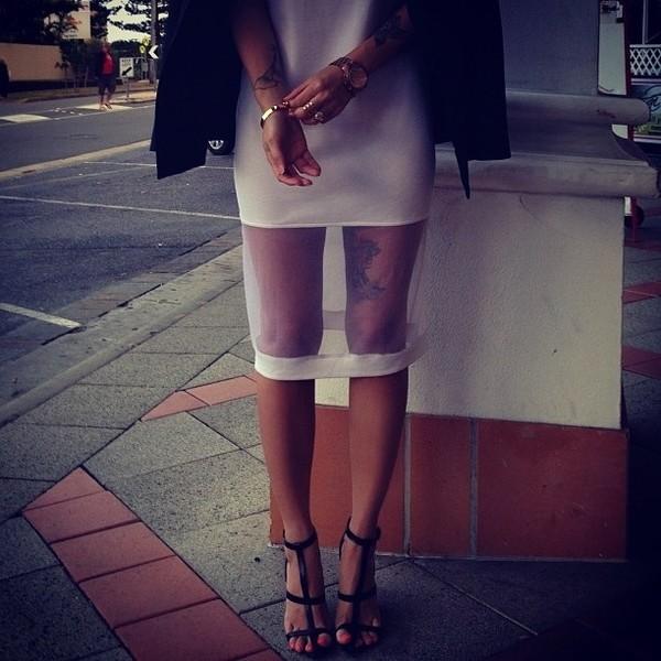 dress mesh panel midi dress shoes white white dress
