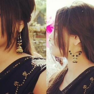 jewels black earrings bollywood black earrings saree indian saree sarees hoop earrings beaded big earrings