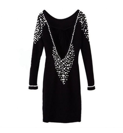 Pearl Backless Mini Dress - Party Dresses - Dresses - Clothing