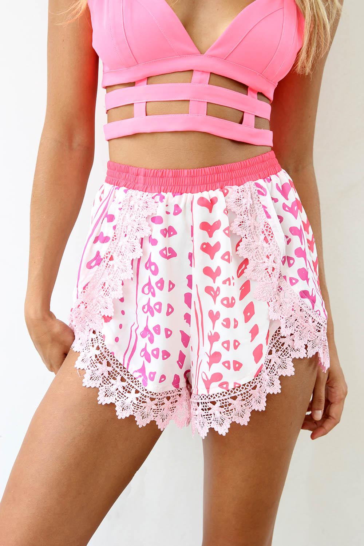 Pink Shorts - Pink Printed High Waisted Shorts | UsTrendy