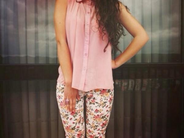 pants leggings flowers blouse too pink color/pattern