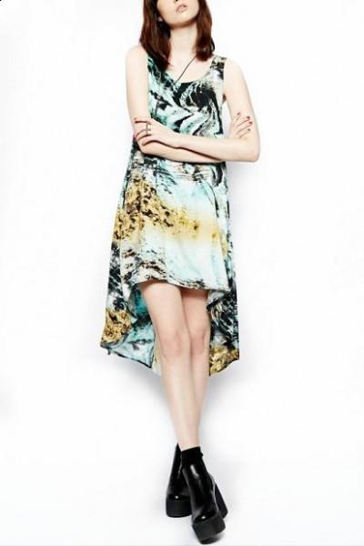 KCLOTH Pop Art Ombre Color Painting Printed Hi-Low Midi Dress