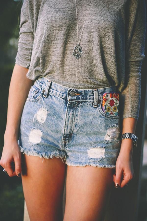 jewels hippie shorts necklace siver hamsa hamsa necklace denim shorts