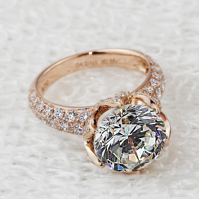 pt950 Stamp Luxury 4 carat lab diamond rings,Rose gold plated engagement & wedding rings micro pave gold diamond pave ring-in Rings from Jewelry on Aliexpress.com