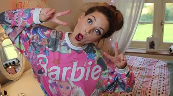 sweater zoella jumper barbie pink