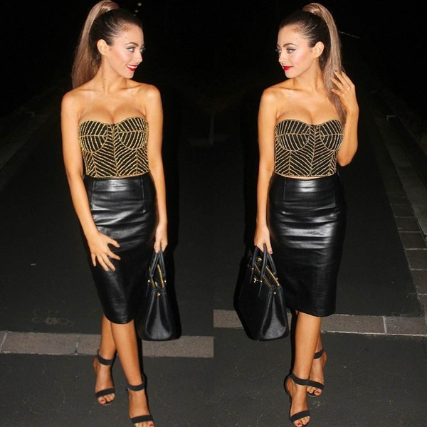 top bustier skirt formal handbag shoes