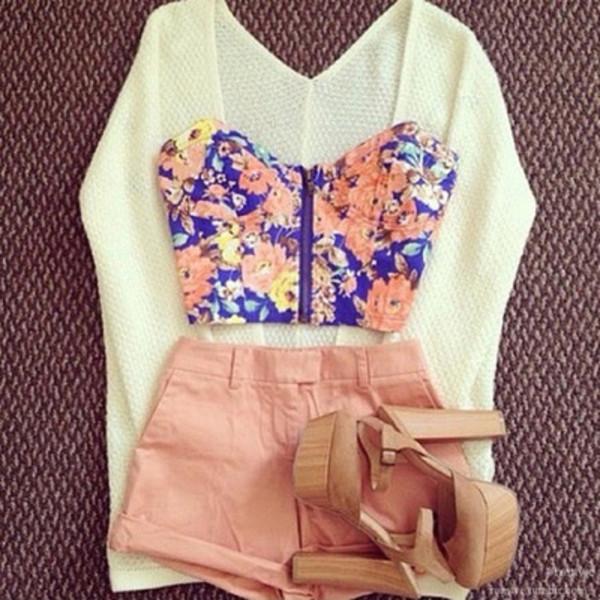 shorts pink cardigan knitwear knit wear white top bandeau floral shoes heels shirt floral shirt crop tops