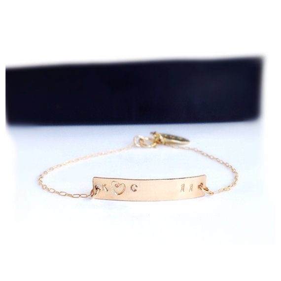 Gold Bar Engraved Bracelet  Valentine's Day Gift by camilaestrella