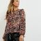 Black floral print chiffon tie sleeve top