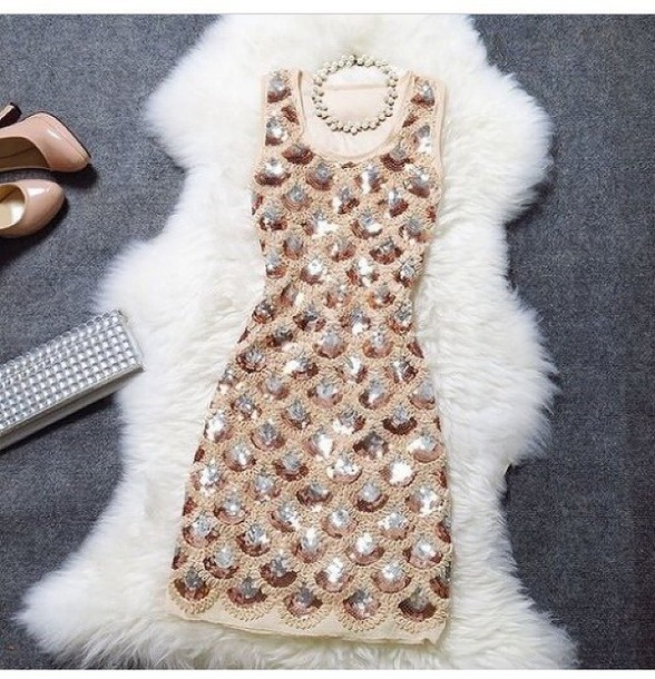 dress evening dress gold sequins gold style sequin dress beige dress