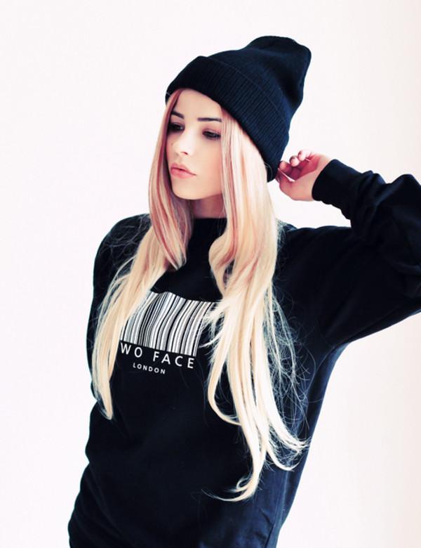 sweater black crewneck crewneck sweater barcode white bar code wo face london london hat jacket two faced baddies