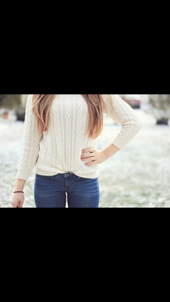 sweater white sweater knitted sweater blue jeans