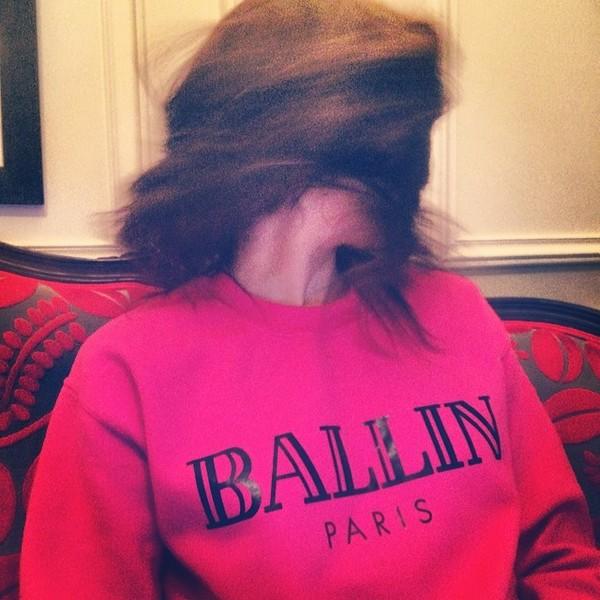 sweater sweatshirt hot pink fuchsia ballin ballin paris balmain chanel celine givenchy lv louis vuitton france paris hilton troian bellisario