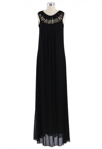 Cage Cut Out Neckline Maxi Dress in Black - Retro, Indie and Unique Fashion