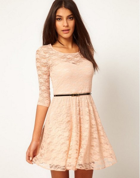 EAST KNITTING 2013 FH 041 Womans fashion Sexy Spoon Neck 3/4 Sleeve Lace Dress Belt Include Brand Dress Free Shipping-in Dresses from Apparel & Accessories on Aliexpress.com