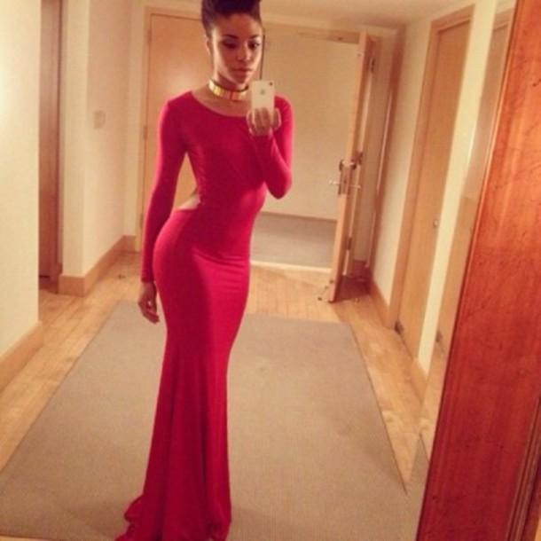 dress red dress long prom dress