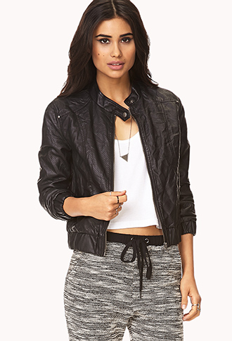 Distressed Faux Leather Jacket | FOREVER21 - 2000091957
