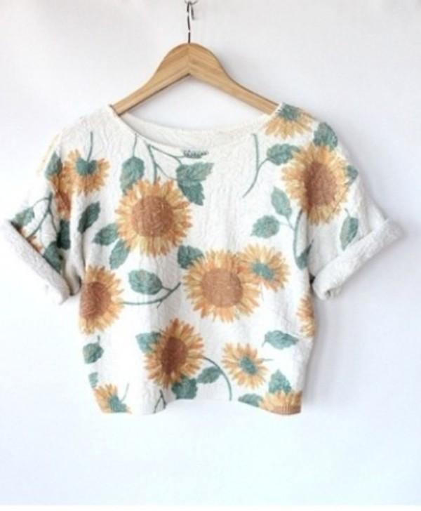 t-shirt crop tops top shirt summer flowers sunflower crop tops