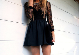 long dress long sleeves statement necklace mini dress black dress black lace dress dress little black dress cocktail dress prom dress short prom dress prom lace dress short dress black tumblr