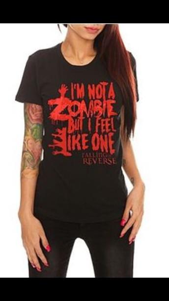 band t-shirt band merch falling in reverse t-shirt zombie