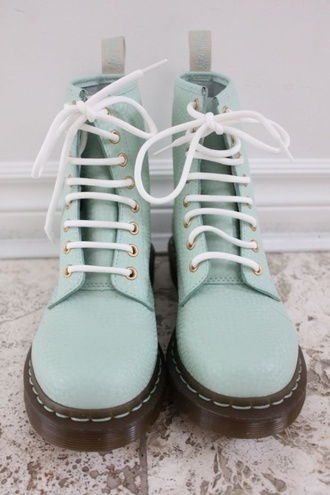 shoes blue teal style fashion paris france combat boots pastel drmartens boots mint acquamarine light green dr marten boots lime leather green pretty gorgeous rock doc martins pastel purple docmartens pastel goth pastel grunge soft grunge pastal goth mint green shoes flat boots