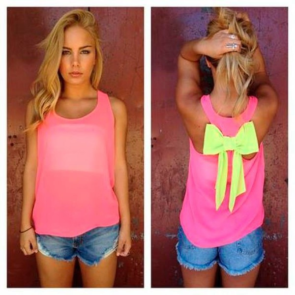 top pink top pink bows illuminati bright blouse green summer outfits