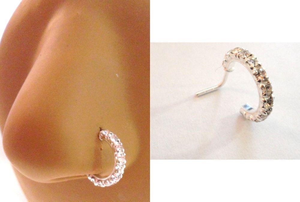 Silver L Shape Nose Ring Stud Hoop Clear CZ Crystals 20g 20 gauge
