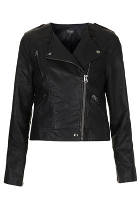 Collarless Biker Jacket - Bikers & Bombers - Topshop