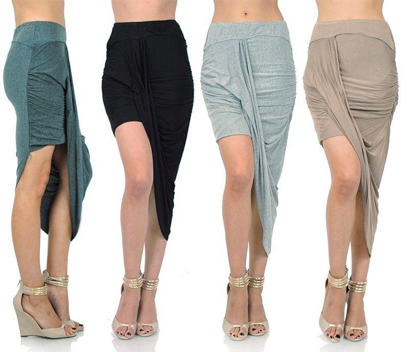 Style Creek Women's Good Quality Stretchy Asymmetrical Hem Draped Skirt 10757 SK | eBay