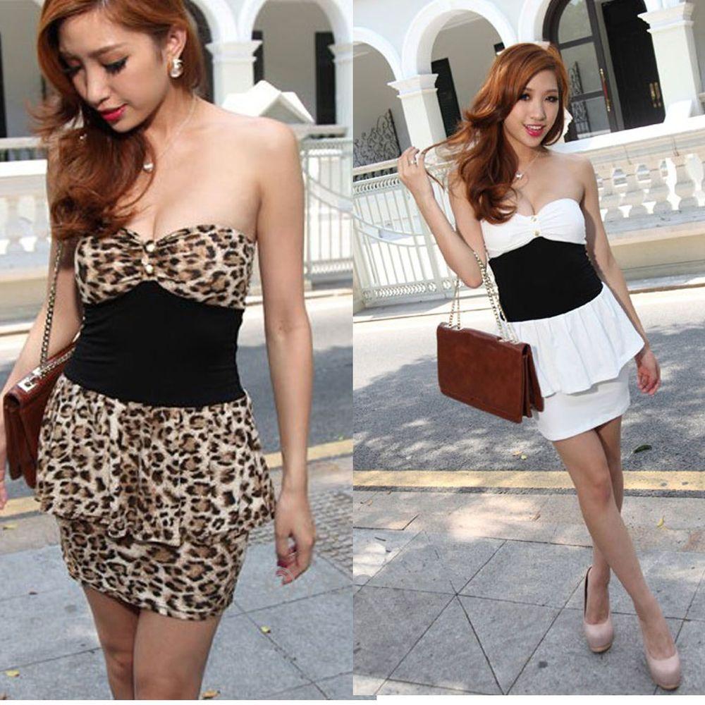 Sexy Leapard Peplum Bodycon Strapless Clubbing Cocktail Evening Party Mini Dress | eBay