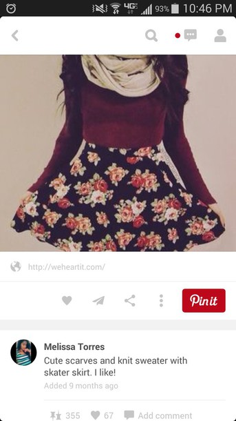 skirt floral skirt scarf knitted sweater