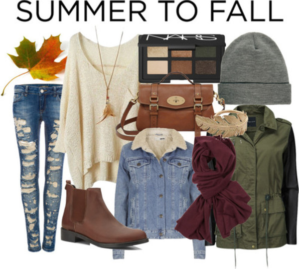 jeans fall outfits fall outfits fashion ripped jeans sweater boots denim jacket scarf satchel beanie bag
