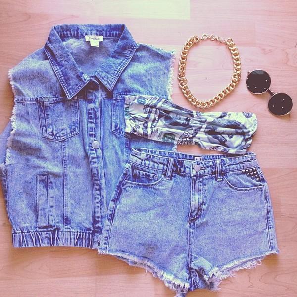 jacket denim jacket denim shorts jewelry jewels shirt