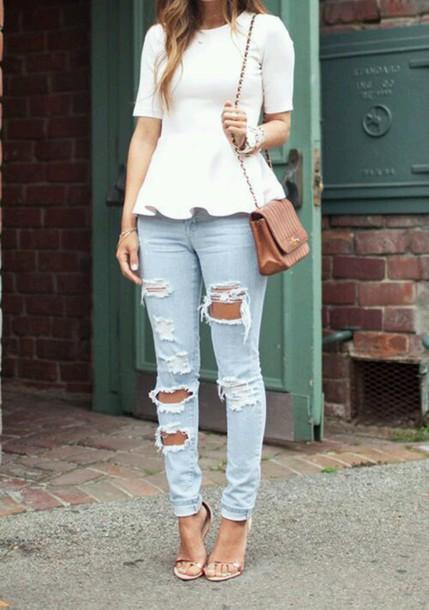 t-shirt top peplum midi sleeves jeans blouse
