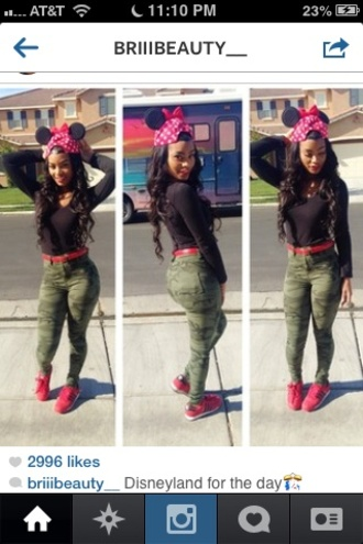 jacket black camouflage bri india westbrooks mickey mouse minnie mouse red lipstick hat dope hat beanie green shoes jeans