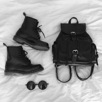 fall accessories drmartens leather backpack round sunglasses backpack black japanese fashion soft grunge grunge accessory sunglasses bag shoes black backpack