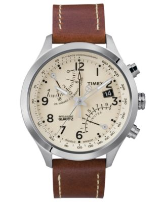 Timex Watch, Men's Premium Intelligent Quartz World Time Brown Leather Strap 44mm T2N942AB - Watches - Jewelry & Watches - Macy's