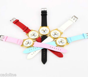 *UK* CUTE CAT FACE WRIST WATCH with GOLD EARS and WHITE RED PINK or BLACK STRAP | eBay
