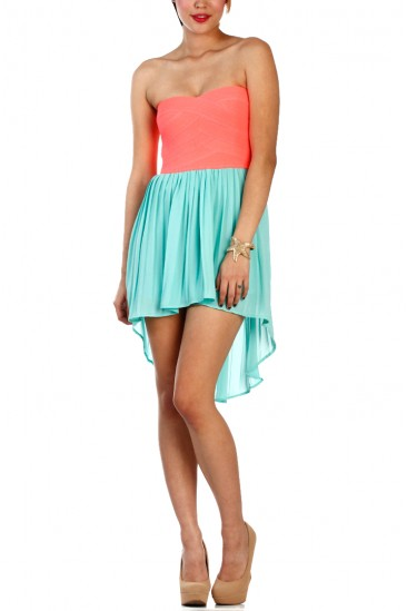 LoveMelrose.com From Harry & Molly   Corset High-Low Dress - Pink