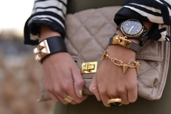 jewels black & gold bracelets watch gold ring