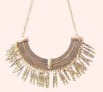 jewels bib necklace gold pocahontas