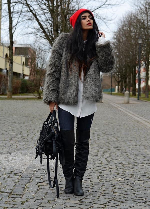she wears fashion blouse coat jeans shoes bag hat