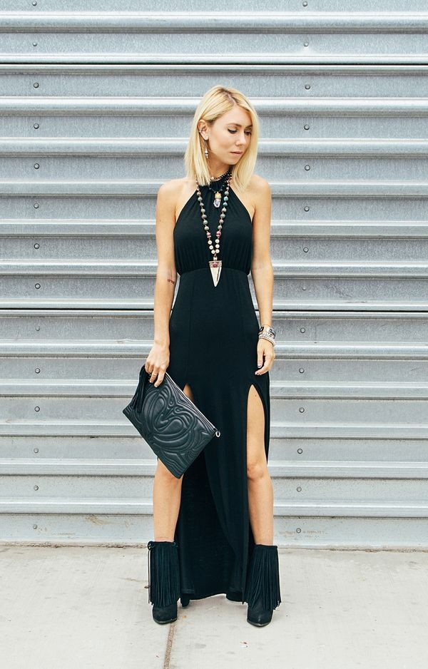 maxi dress slit dress black dress halter neck black dress pouch fringe shoes dress shoes black pouch black