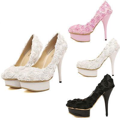 Princess Rose Flower Wedding Shoes Evening Party Dress High Heels   eBay