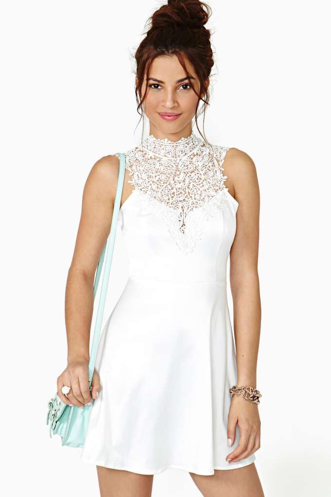 Tied Crochet Skater Dress in  Clothes Dresses at Nasty Gal
