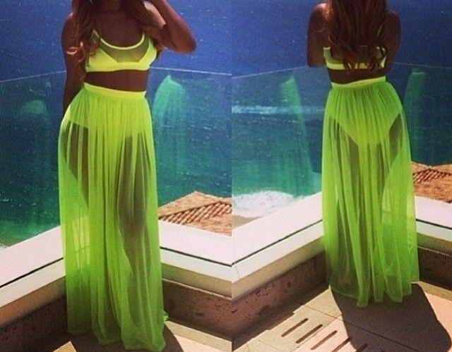 Sexy New Green Chiffon 2 Pieces Women Clubwear Outfit Slim Fit Party Dress   eBay