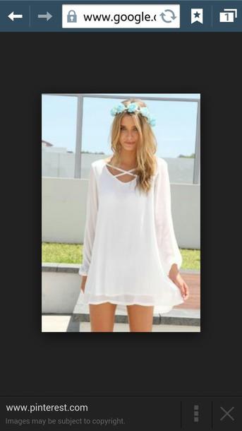 dress white dress mini dress flowy dress long sleeves long sleeve dress
