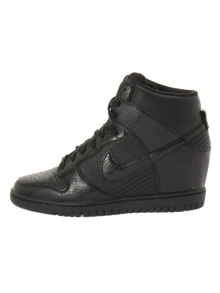 Nike Dunk Sky Hi High Concealed Wedge Sneaker Black Leather Snake Embossed 7   eBay